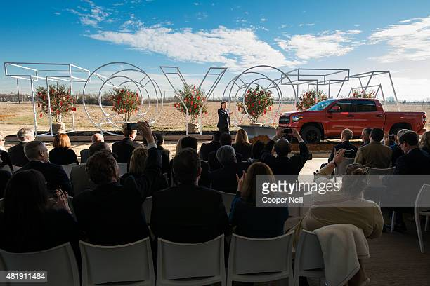 Toyota Motor North America Chief Executive Officer Jim Lentz addresses a group of 75 special guests and local media on January 20 2015 in Plano Texas...