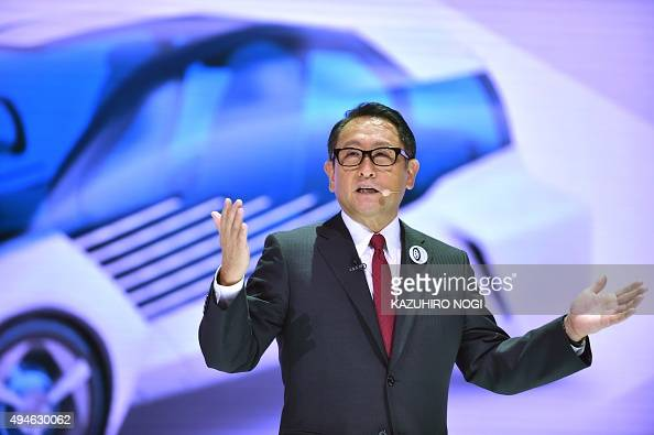 Toyota Motor president Akio Toyoda delivers a speech during a press briefing at the Tokyo Motor Show on October 28 2015 The Tokyo Motor Show kicked...