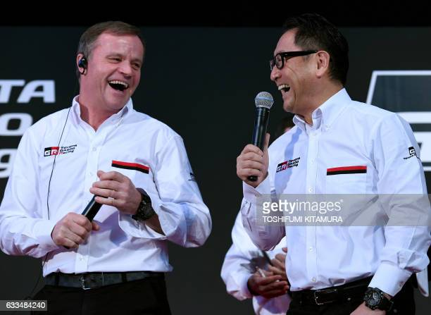 Toyota Motors president Akio Toyoda shares a laugh with Toyota Gazoo Racing WRC team principal Tommi Makinen during a 2017 Toyota Gazoo Racing press...
