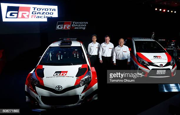 Toyota Motorsport GmbH president Toshio Sato left Tommi Makinen head of Toyota's World Rally Championship project center and Toyota Motor Corp Senior...