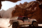 Toyota South African driver Giniel De Villiers and codriver Dirk Von Zitzewitz compete during the Stage 6 of the Dakar 2014 between Tucuman and Salta...
