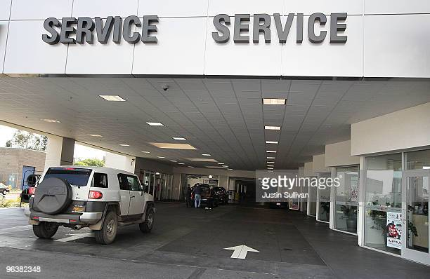 Toyota truck pulls into the service department at City Toyota February 3 2010 in Daly City California Toyota is being pressured by US Transportation...