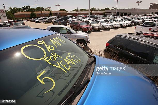 Toyota vehicles sit on the lot of a newcar dealership July 1 2008 in Park Ridge Illinois Toyota car sales fell 94 percent in June its truck sales...