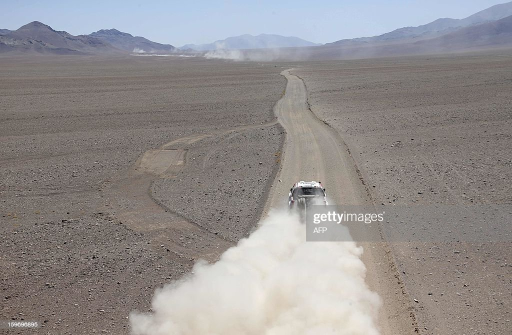 Toyota's driver Giniel De Villiers of South Africa and co-driver Dirk Von Zitzewitz of Germany compete during the Stage 13 of the 2013 Dakar Rally between Copiapo and La Serena, in Chile, on January 18, 2013. The rally is taking place in Peru, Argentina and Chile from January 5 to 20.