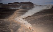 Toyota's driver Giniel De Villiers of South Africa and codriver Dirk Von Zitzewitz of Germany compete during the Stage 9 of the Dakar 2015 between...