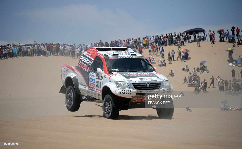 Toyota's driver Giniel De Villiers of South Africa competes during the Stage 2 of the Dakar 2013 in Pisco, Peru, on January 6, 2013. The rally will take place in Peru, Argentina and Chile from January 5 to 20.