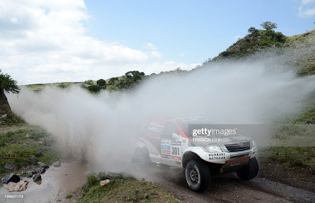 Toyota's driver Giniel De Villiers of South Africa competes during the Stage 9 of the Dakar 2013 between Tucuman and Cordoba, Argentina, on January 14, 2013. The rally takes place in Peru, Argentina and Chile from January 5 to 20.