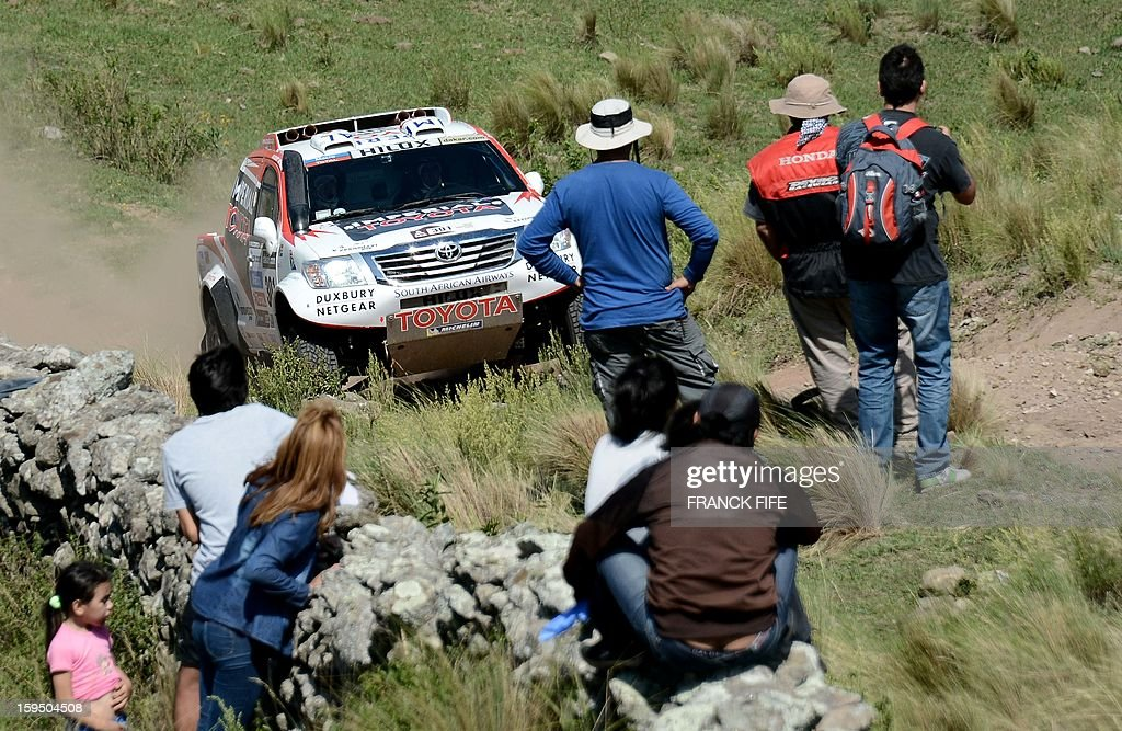 Toyota's driver Giniel De Villiers of South Africa competes during the Stage 9 of the Dakar 2013 between Tucuman and Cordoba, Argentina, on January 14, 2013. The rally takes place in Peru, Argentina and Chile between January 5 and 20.