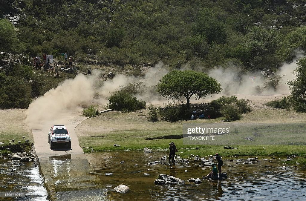 Toyota's driver Giniel De Villiers of South Africa competes during the Stage 10 of the Dakar 2013 between Cordoba and La Rioja, Argentina, on January 15, 2013. The rally takes place in Peru, Argentina and Chile between January 5 and 20.