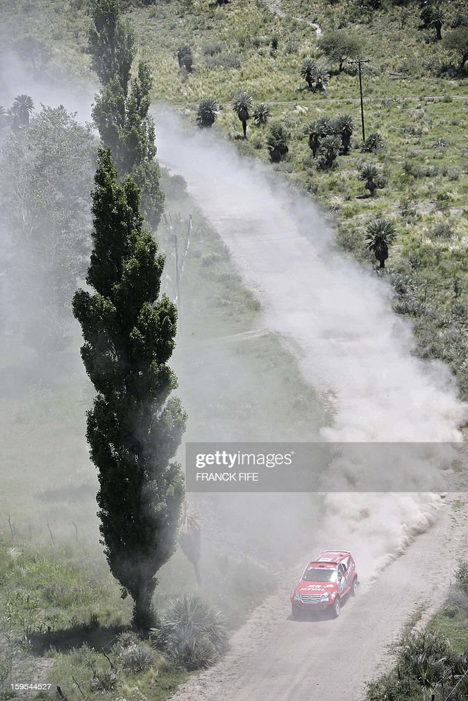 Toyota's driver Lucho Alarez of Argentina competes during the Stage 10 of the Dakar 2013 between Cordoba and La Rioja, Argentina, on January 15, 2013. The rally takes place in Peru, Argentina and Chile between January 5 and 20.