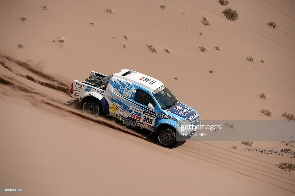 Toyota's driver Lucio Alvarez of Argentina competes during the Stage 12 of the 2013 Dakar Rally between Fiambala in Argentina and Copiapo in Chile, on January 17, 2013. The rally is taking place in Peru, Argentina and Chile from January 5 to 20.