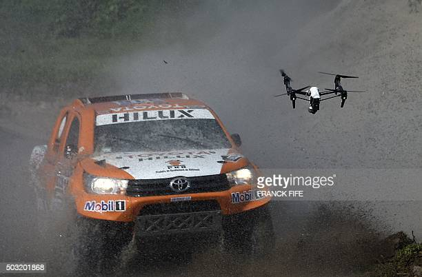 Toyota's driver Ronan Chabot of France and codriver Gilles Pillot compete during the 11km Prologue of the 2016 Dakar Rally in the province of Buenos...
