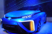 Toyota's hydrogen fuel cell car is seen at a press conference at 2014 International CES January 6 2014 in Las Vegas Nevada Toyota said it plans to...