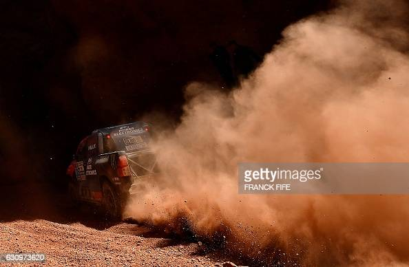 TOPSHOT Toyota's pilot Nani Roma and copilot Alexandre Haro Bravo both from Spain compete during the Stage 3 of the 2017 Dakar Rally between San...
