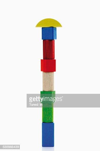 Toys, building bricks against white background : Stock Photo