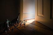 Toys by doorway