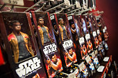 Toys from 'Star Wars The Force Awakens' are sold in the Toys R Us in Times Square on December 11 2015 in New York City Disney acquired Lucasfilm...
