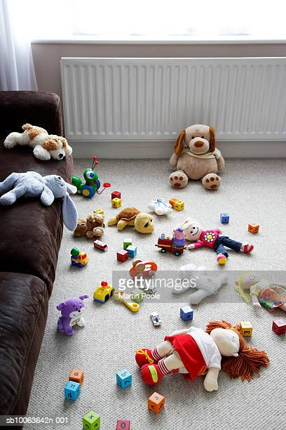 Toys lying around living room floor, elevated view