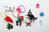 Toys of fantasy figures and jewellery