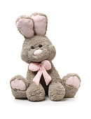 Toys: small Ash rabbit, isolated on white background