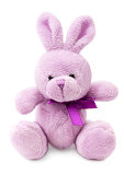 Toys: small pink or lilac rabbit, isolated on white background See some similar images in my portfolio: