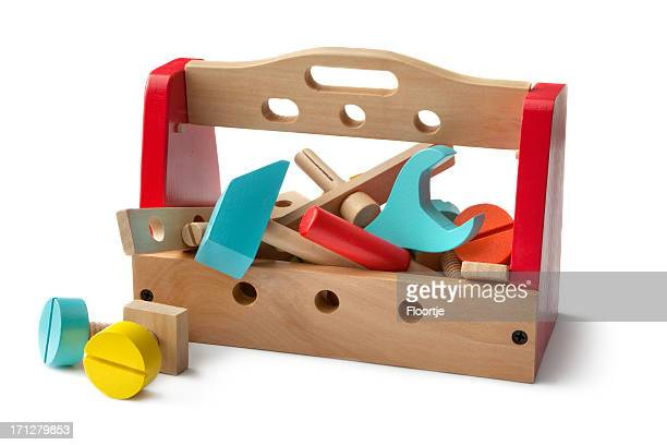 Toys: Wooden Work Toolbox Isolated on White Background