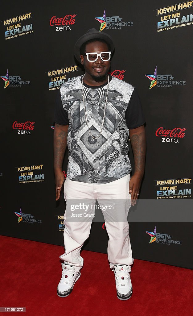T-Pain attends Movie Premiere 'Let Me Explain' with Kevin Hart during the 2013 BET Experience at Regal Cinemas L.A. Live on June 27, 2013 in Los Angeles, California.