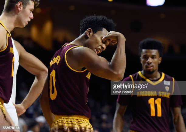 Tra Holder of the Arizona State Sun Devils reacts after scoring a basket against the Xavier Musketeers during the championship game of the 2017...