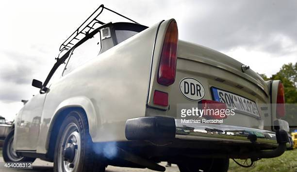 Trabant 601 car with a two stroke engine goes to the event site as fans of the East German Trabant car gather for their 7th annual gettogether on...