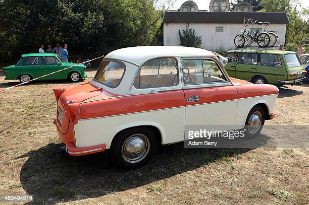 Trabant automobile is seen at a Trabant enthusiasts' weekend on August 8 2015 near Nossen Germany The Trabant also called the Trabi is the iconic car...