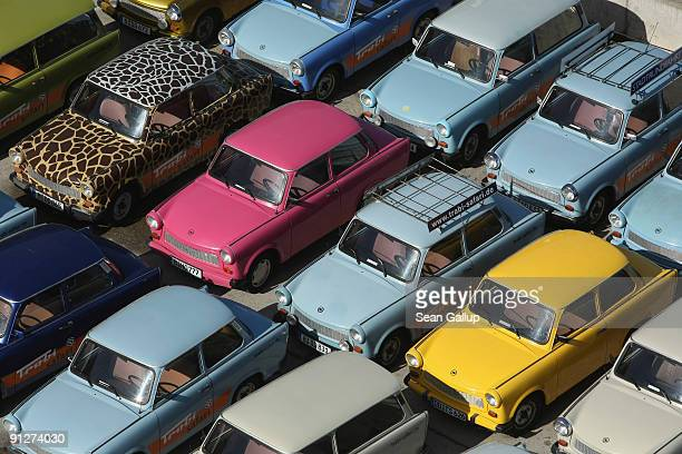 Trabants or Trabis the iconic cars of the former East Germany are visible from above on September 30 2009 in Berlin Germany The cars belong to an...