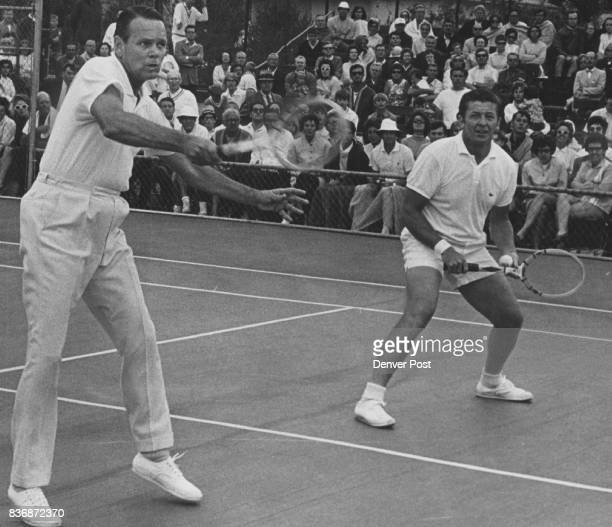 Trabert Tony spts file 5p L Kramer R Trabert Old Netters Don't Fade Away they just keep on Winning Exhibition Matches Former tennis kings Jack Kramer...