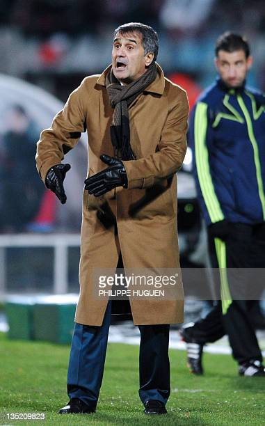 Trabzonspor AS head coach Senol Gunes gestures during the UEFA Champions League Group B football match Lille vs Trabzonspor AS on December 7 2011 at...