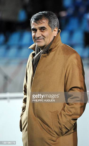 Trabzonspor AS head coach Senol Gunes is pictured prior to the UEFA Champions League Group B football match Lille vs Trabzonspor AS on December 7...