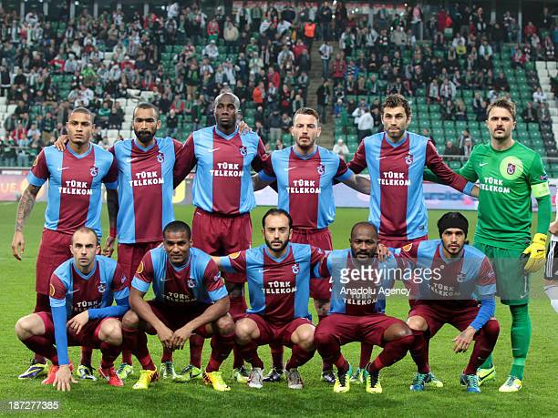 Trabzonspor football team pose for a team picture prior to the UEFA Europa League Group J football match between Legia Warsaw and Trabzonspor on...