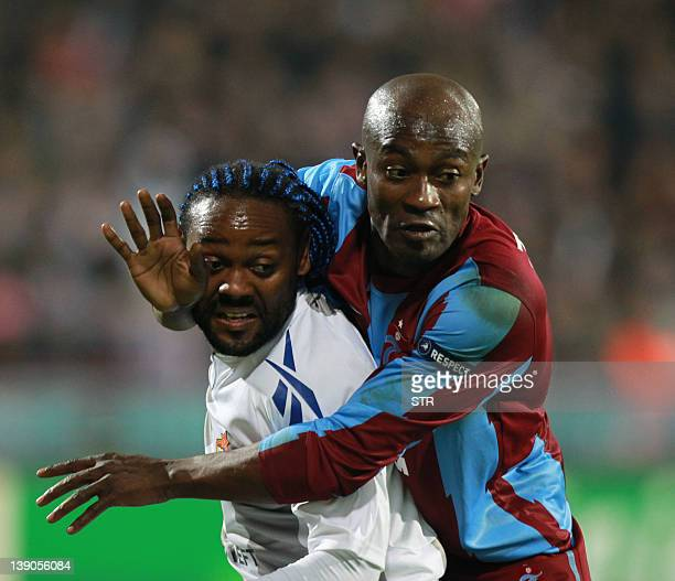Trabzonspor's Didier Zokora vies for the ball with CSKA Moscov's Vagner Love during their Champions League Group B football match at the Huseyin Avni...