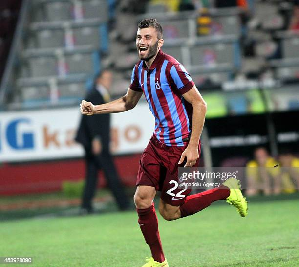 Trabzonspor's Mustafa Yumlu celebrates after scoring during the UEFA Europe League playoff first leg football match between Trabzonspor and FC Rostov...