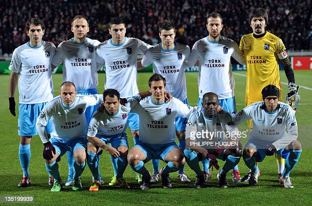 Trabzonspor's players pose prior to the UEFA Champions League Group B football match Lille vs Trabzonspor AS on December 7 2011 at the Lille...