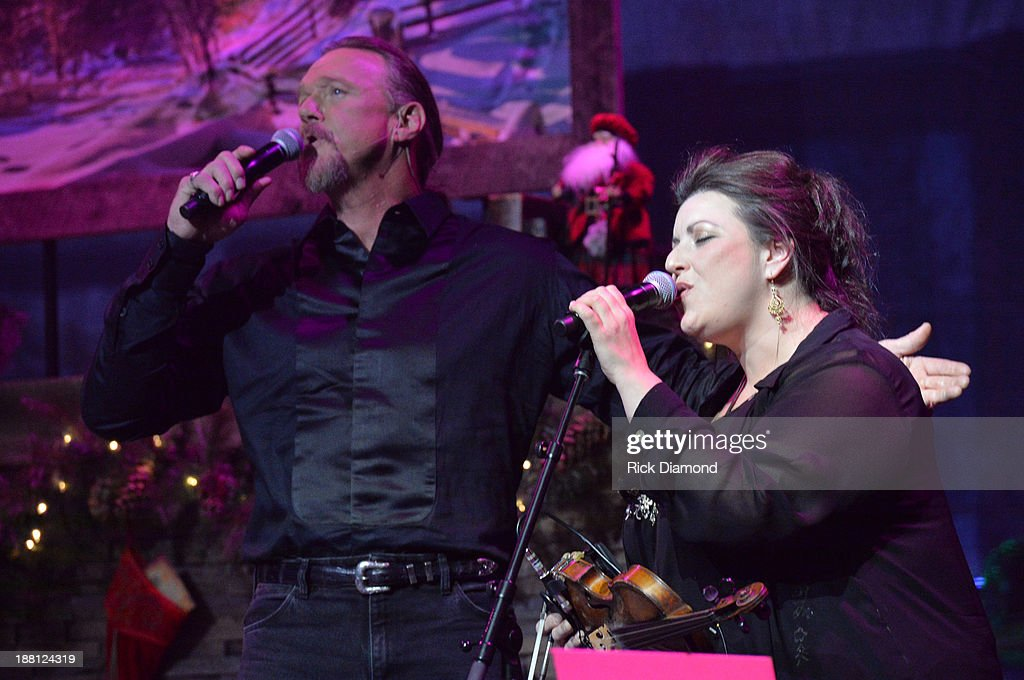 Trace Adkins and Andrea Zonn perform during 'The Christmas Show' Tour. A night of narration, history and soul-stirring Celtic on November 14, 2013 in Nashville, Tennessee.