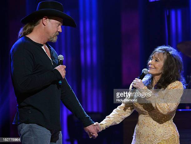 Trace Adkins joins Loretta Lynn and performs during the celebration of Loretta Lynn's 50th Opry Anniversary at The Grand Ole Opry on September 25...