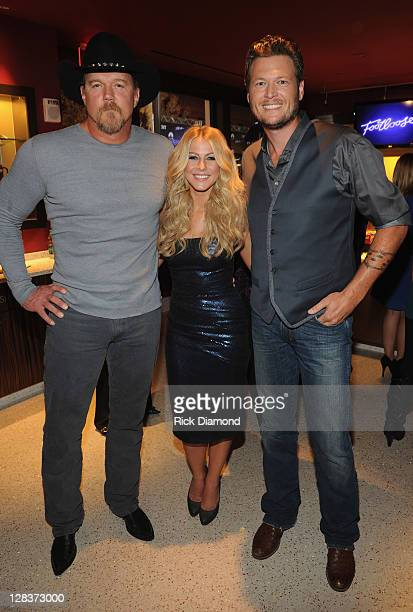 Trace Adkins Julianne Hough and Blake Shelton attend FOOTLOOSE Nashville screening on October 6 2011 in Nashville Tennessee
