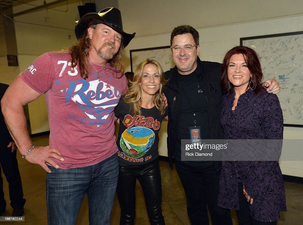 Trace Adkins, Sheryl Crow, Vince Gill, and Rosanne Cash backstage during Keith Urban's Fourth annual We're All For The Hall benefit concert at Bridgestone Arena on April 16, 2013 in Nashville, Tennessee.