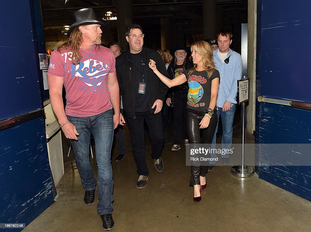 Trace Adkins, Vince Gill, and Sheryl Crow backstage during Keith Urban's Fourth annual We're All For The Hall benefit concert at Bridgestone Arena on April 16, 2013 in Nashville, Tennessee.
