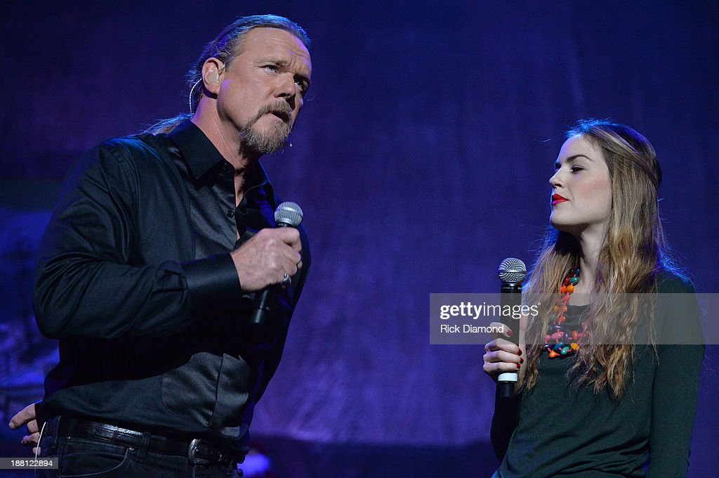 <a gi-track='captionPersonalityLinkClicked' href=/galleries/search?phrase=Trace+Adkins&family=editorial&specificpeople=224686 ng-click='$event.stopPropagation()'>Trace Adkins</a> with Lily Costner during the 'The Christmas Show' Tour. A night of narration, history and soul-stirring Celtic carols on November 14, 2013 in Nashville, Tennessee.