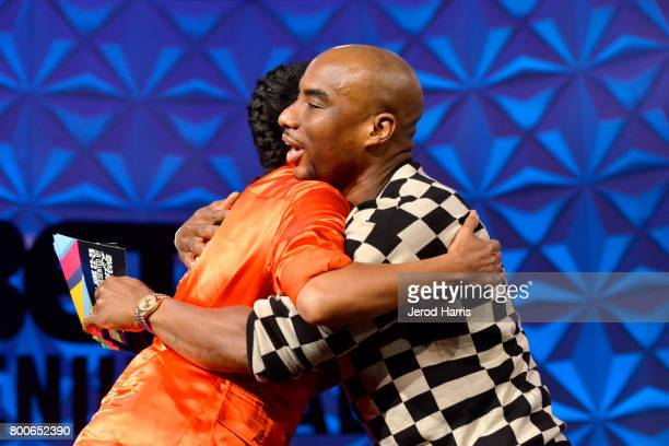 Tracee Ellis Ross and Charlamagne Tha God at day one of Genius Talks sponsored by ATT during the 2017 BET Experience at Los Angeles Convention Center...