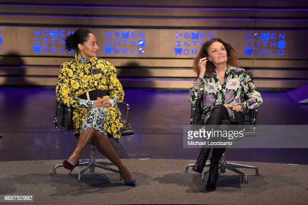 Tracee Ellis Ross and Diane von Furstenberg speak during the Eighth Annual Women In The World Summit at Lincoln Center for the Performing Arts on...