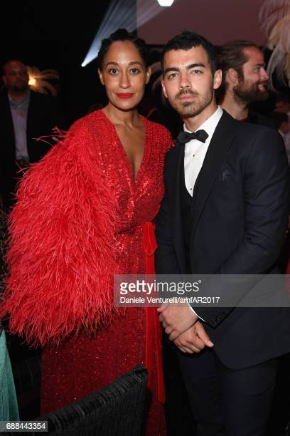 Tracee Ellis Ross and Joe Jonas attend the amfAR Gala Cannes 2017 at Hotel du CapEdenRoc on May 25 2017 in Cap d'Antibes France