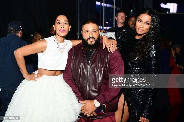 Tracee Ellis Ross DJ Khaled and Ciara pose backstage the 2017 American Music Awards at Microsoft Theater on November 19 2017 in Los Angeles California