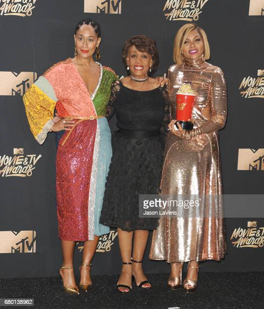 Tracee Ellis Ross Maxine Waters and Taraji P Henson pose in the press room at the 2017 MTV Movie and TV Awards at The Shrine Auditorium on May 7 2017...