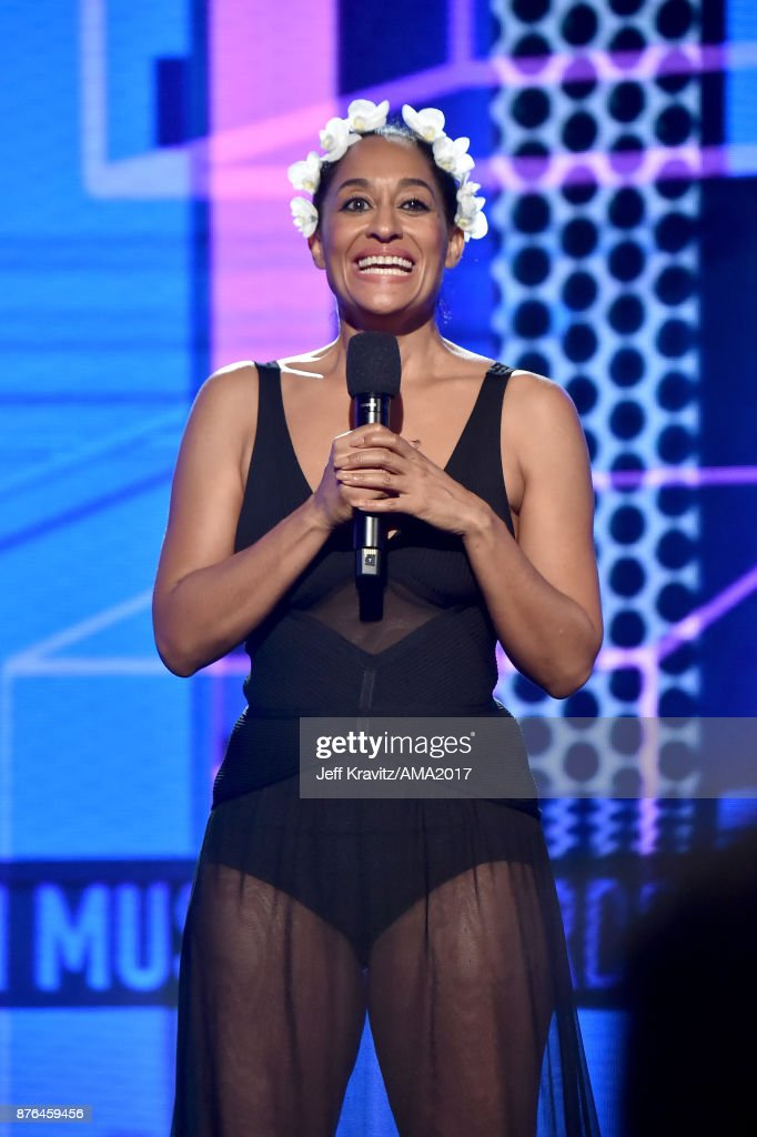 Tracee Ellis Ross speaks onstage during the 2017 American Music Awards at Microsoft Theater on November 19, 2017 in Los Angeles, California.